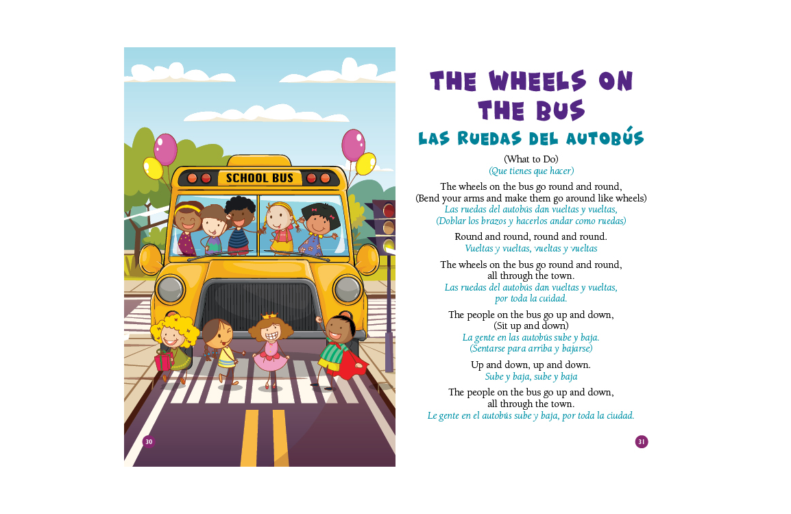 photo of illustration and lyrics to The Wheels on the Bus