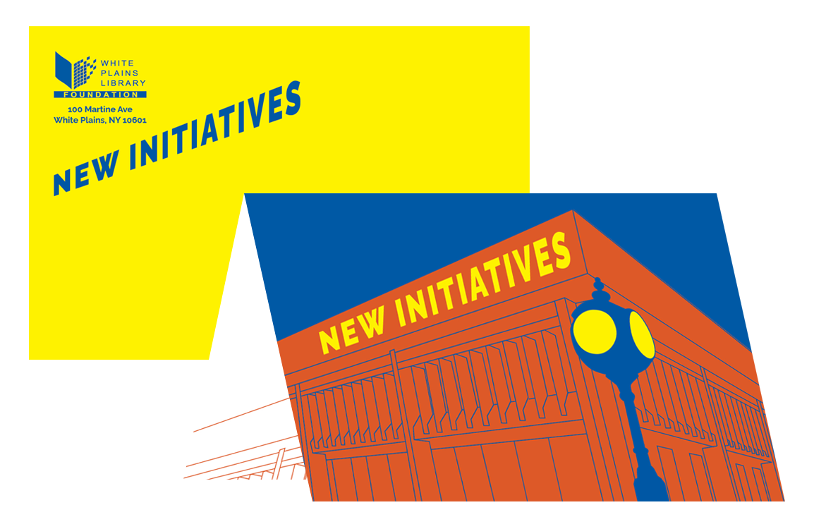 image of New Initiatives card and envelope for White Plains Library Foundation appeal