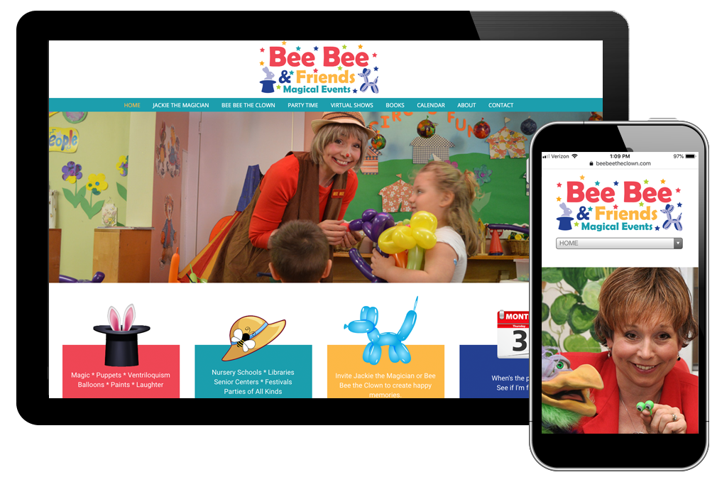 photo of home page for Bee Bee the Clown
