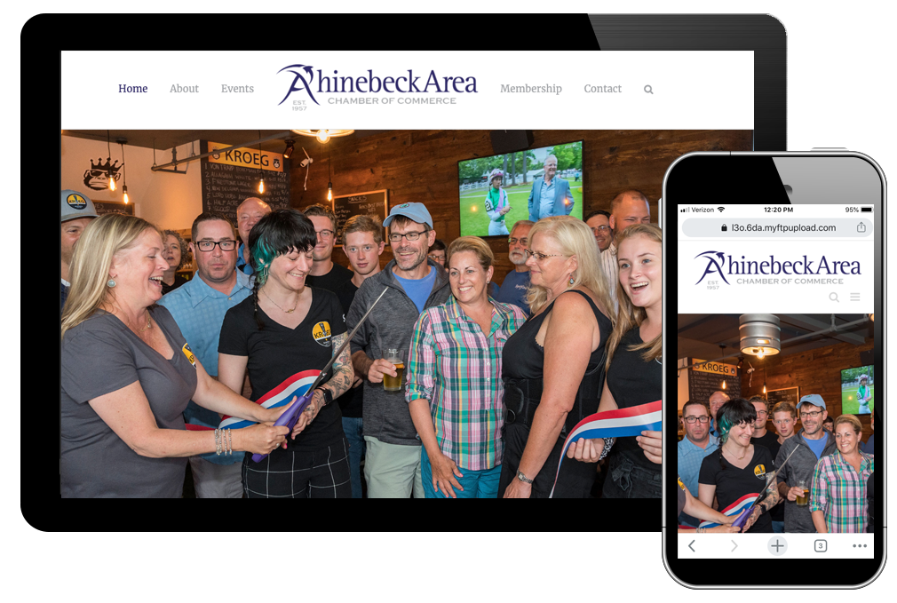 photo of home page for Rhinebeck Area Chamber of Commerce website
