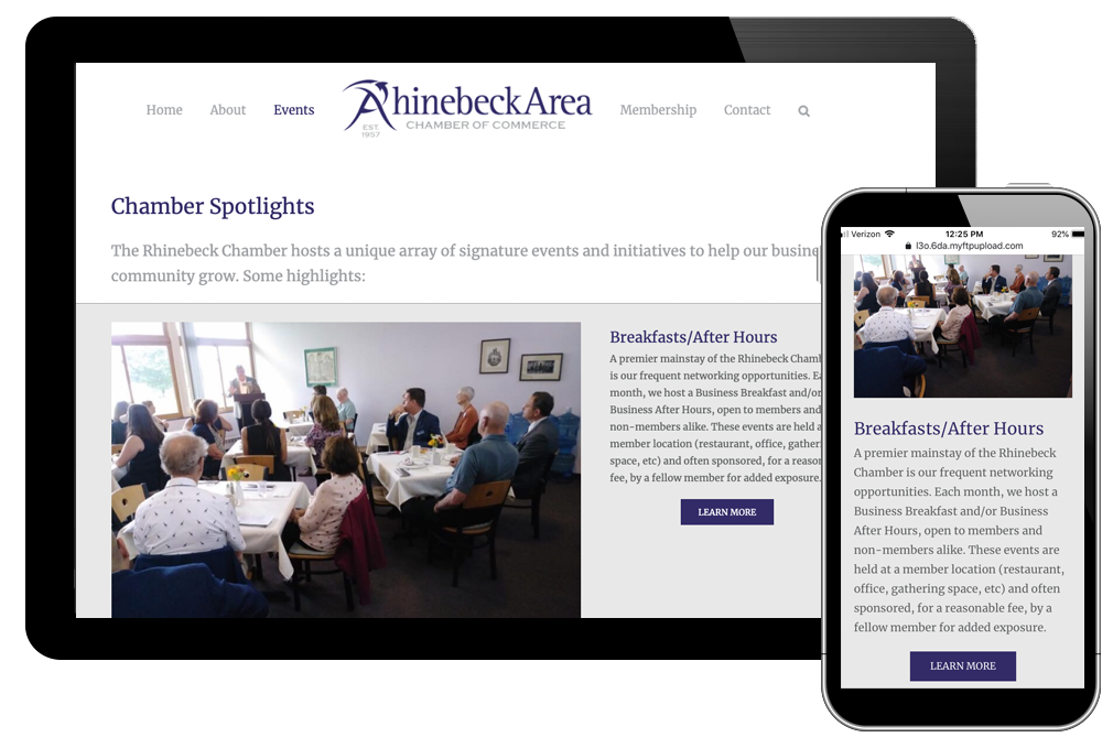 photo of chamber spotlights page for Rhinebeck Area Chamber of Commerce website