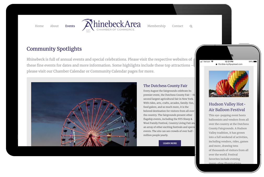 photo of community spotlights page for Rhinebeck Area Chamber of Commerce website