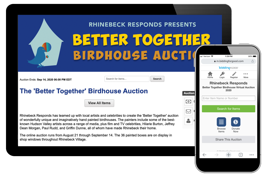 photo of better together birdhouse auction web page