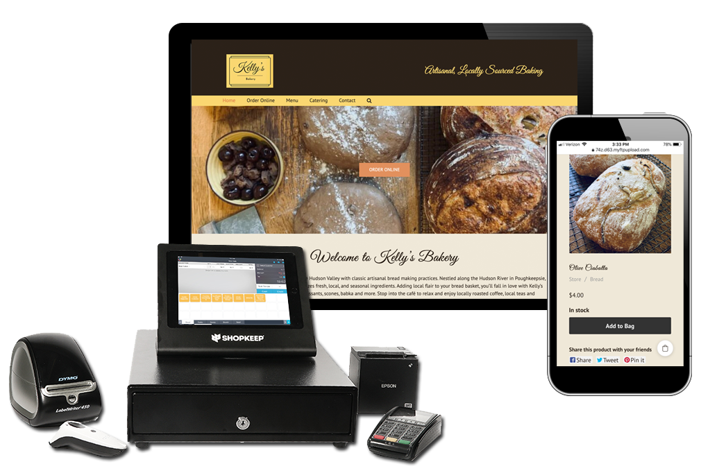 image that shows store point of sale setup with ipad and cash register as well as online store on phone and desktop