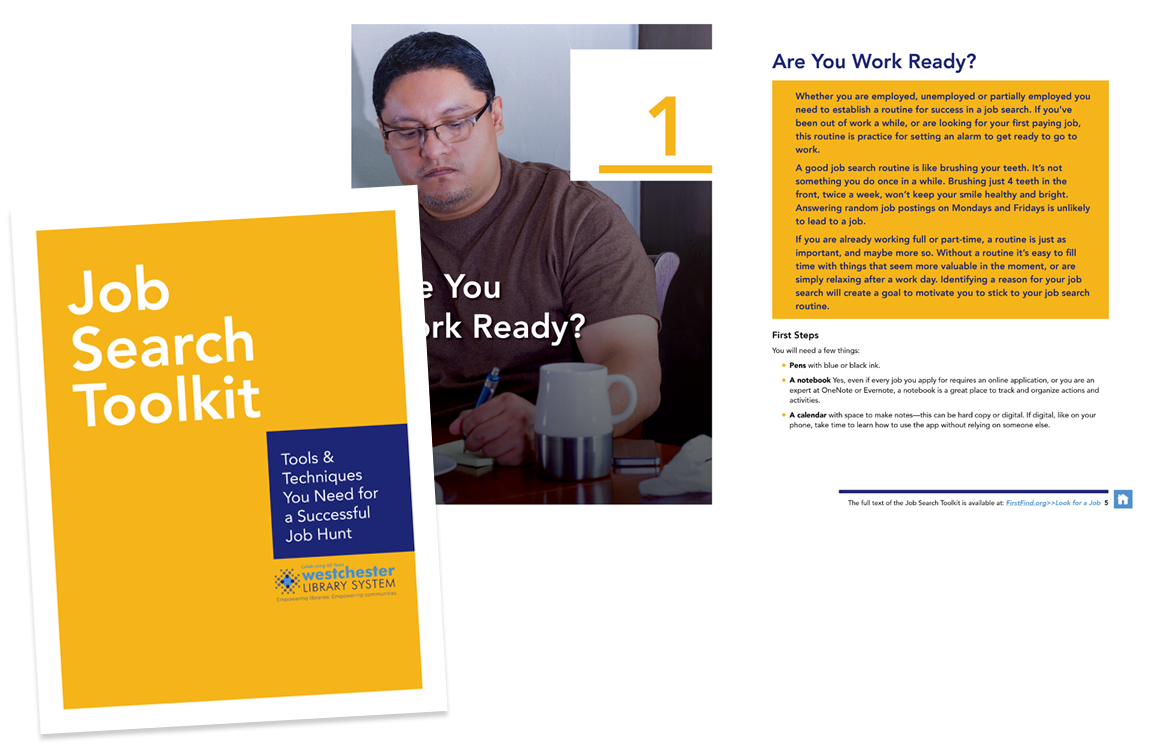 photo of Job Search Toolkit cover and inside spread