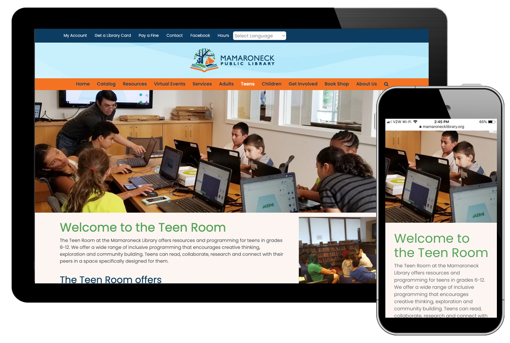 photo of teen page on Mamaroneck Library website