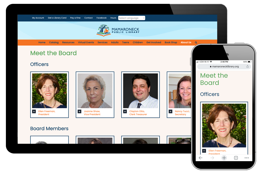 photo of board page on Mamaroneck Library website