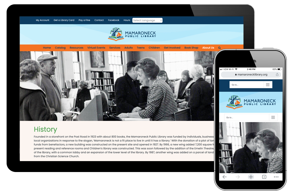 photo of history page on Mamaroneck Library website