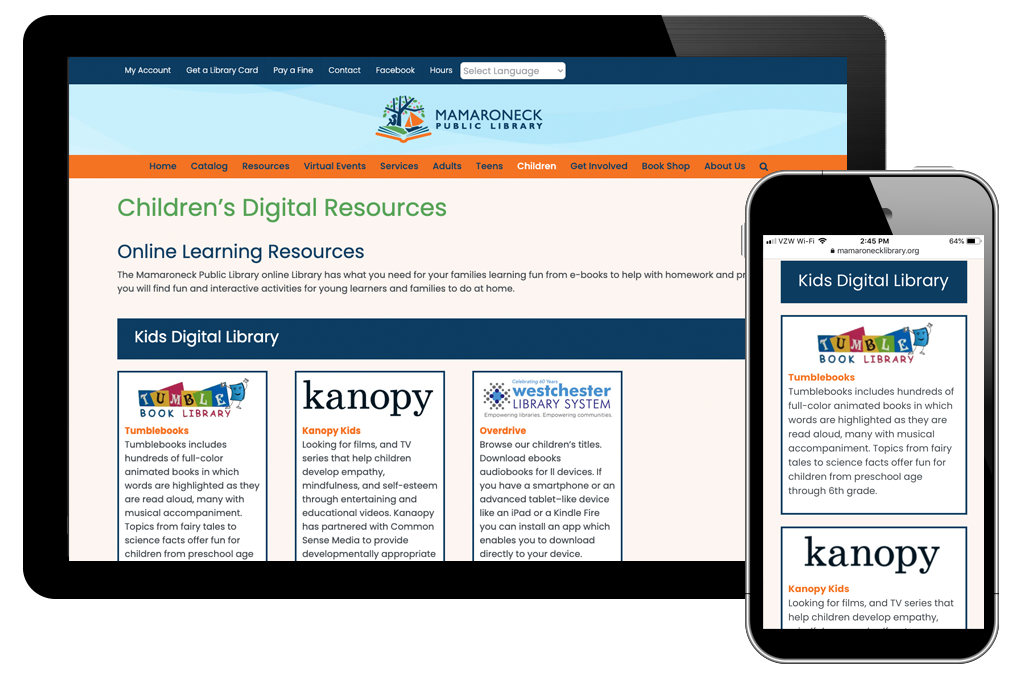 photo of children's digital resources page on Mamaroneck Library website