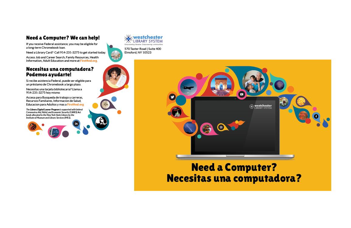 photo of post card with text Need a computer? Necesitas una computadora?