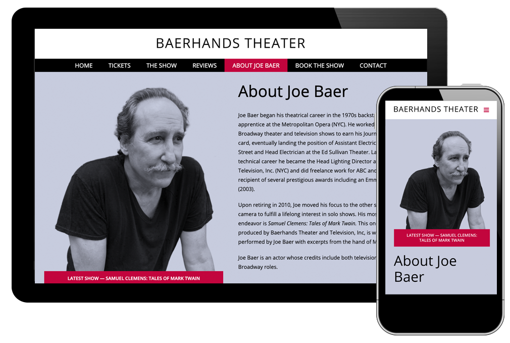 About Joe Baer page of Baer Hands Theater website