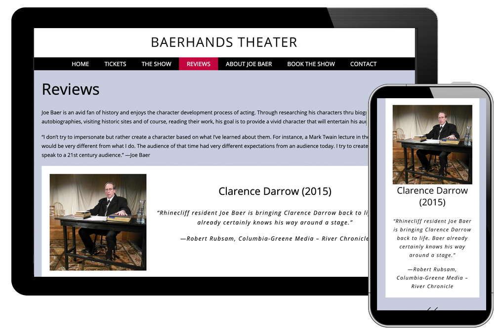 Reviews page of Baer Hands Theater website